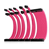 Asiahorse Power Supply Sleeved Cable for Power Supply Extension Cable Wire Kit 1x24-PIN/ 2x8-PIN (4+4) M/B,3x8-PIN (6+2) PCI-E 30cm Length with Combs(Dual EPS Pink)