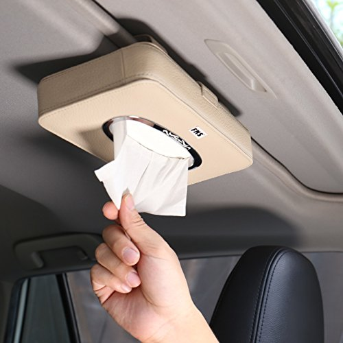 FMS Car Leather Tissue Case Holder for Sun Visor & Seat Back with Tissue Refill (Beige)
