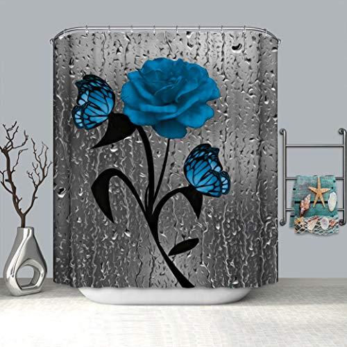 Duschvorhang-Sets mit rutschfestem Teppich, WC-Deckelbezug & Badematte, blauer Rosen-Duschvorhang mit 12 Haken, wasserdicht, Regentropfen-Duschvorhang für Badezimmer, 4 Stück