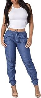 HINK Pantalones de Mujer, Pantalones Casuales de Cintura elástica para Mujer, Pantalones Vaqueros de Cintura Alta, Pantalo...