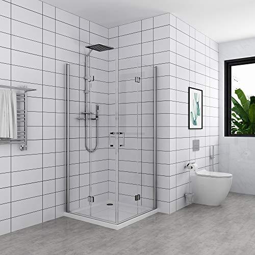 Drehfalttür Duschkabine 180° Eckeinstieg,Dusche Falttür,Duschabtrennung 5mm NANO Glas (90x90x195 cm)