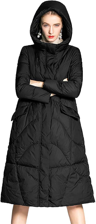 Women's Long Jacket Coat,Winter Overcoat Womens Hooded Ultra Light Down Jacket Slim Solid Long Down Jacket Female Portable Parkas,Black,XL