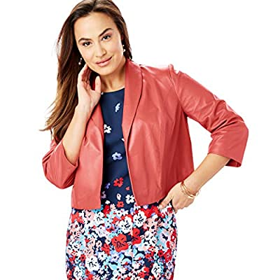 Jessica London Women's Plus Size Leather Shrug Jacket - 22 W, Sunset Coral from Jessica London