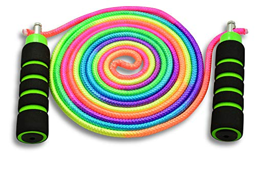 Anna's Rainbow Double Dutch Jump Rope - 14ft Long Skipping Rope for Indoor/Outdoor/Playground - Durable Adjustable 8mm Nylon Cord - Exercise Toy with Lightweight Foam Handles