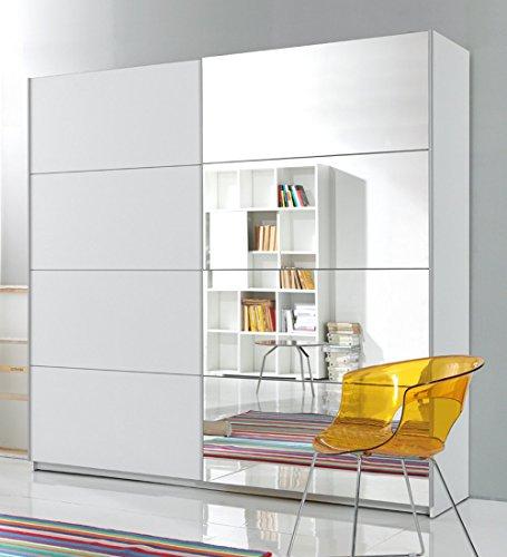 trend-moebel SCHWEBETÜRENSCHRANK 2-TRG. B 180 cm Spiegel Schlafzimmer Weiss NEU