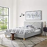 Vibe Upholstered Platform Bed Frame | Headboard and Wood Slat Support Upholstered Platform Bed Frame | Headboard and Wood Slat Support, King, Light Grey