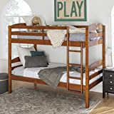 Walker Edison Wood Twin Bunk Kids Bed Bedroom with Guard Rail and Ladder Easy Assembly, Cherry