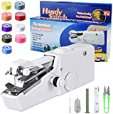 Handheld Sewing Machine, Portable Mini Sewing Beginners Cordless Sewing Handheld Electric Household Tool Quick Repairing Suitable for Denim Curtains Leather DIY (White)