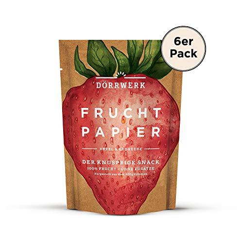 Getrocknete Früchte als 6er Set Fruchtpapier (6x 40g) - Frucht Snack aus Erbeere & Apfel luftgetrocknet - Trockenobst Dörrobst Superfood für Büro, Snack, Frühstück