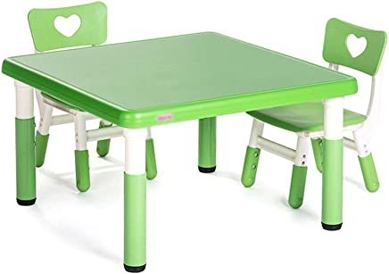 509cc6b4 ZHAOHUI Mesas Y Sillas Infantiles Altura Ajustable Conjunto Infantil De Mesa  Niño Aprender Leyendo Juego Jardín