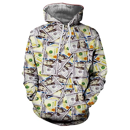 Frashing Unisex Kapuzenpullover 3D Druck Dollar Lover's Sweatshirt mit Langen Ärmeln Herbst Winter Lässige Hoodie Winterjacke Weihnachten Pullover Party Kostüm M-XXXL