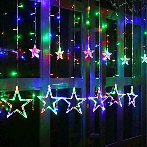 Luces de cortina de estrella LED, 12 estrellas 138 Luces de cuerda de tira de cortina de ventana LED con 8 modos intermitentes Decoración para Navidad, boda, fiesta, pared, decoración del hogar (