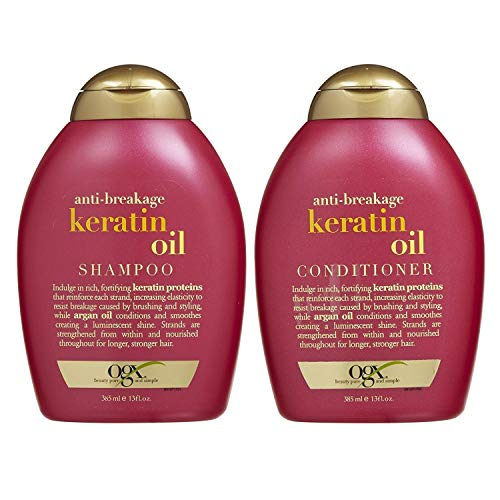 OGX Anti-Breakage Keratin Oil Shampoo & Conditioner Combo | With Keratin Proteins & Argan Oil, For Damaged hair & Split Ends, Sulfate Free Surfactants, No Parabens, 385 ml