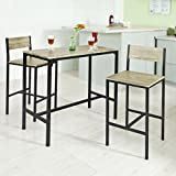 "Haotian OGT03, 3 Piece Dining Set,Dining Table with 2 Chairs,Home Kitchen Breakfast Table,Bar Table Set, Bar Table with 2 Bar Chairs,Kitchen Counter with Bar Chairs, 33.7 ""Height Table"