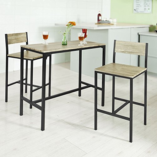 Haotian OGT03, 3 Piece Dining Set,Dining Table with 2 Chairs,Home Kitchen Breakfast Table,Bar Table Set, Bar Table with 2 Bar Chairs,Kitchen Counter with Bar Chairs