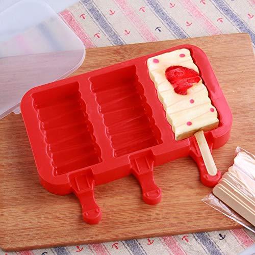 ZPZZPY 3 Rejilla De Silicona Bandeja De Helado De Congelación Rápida Crema Paleta De Jugo Molde Forma De Caramelo Pop Lolly Cake Molde Fabricante De Helado