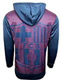 FC Barcelona Zip Hoodie For Kids, Barca Hoodie with Big Logo on the Back (Youth Medium 7-9 years) Blue