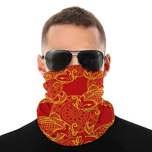 Golden Yellow Japanese Carp Koi Vintage Multifunción Headwear Cuello Polaina Pasamontañas Forro de casco Riding Face Cover para niños Mujeres Hombres al aire libre Protección UV