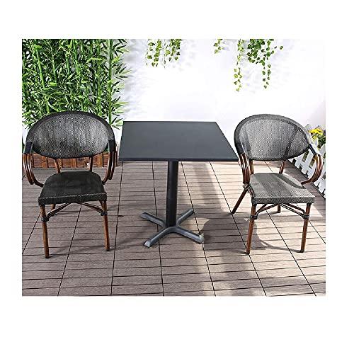 XIAOJU Juego de combinación de Mesa y Silla, 2 sillas y 1 Mesa, fácil de almacenar, apilable, Ideal para Patio al Aire Libre, Porche, Junto a la Piscina, césped, balcón,Square Table