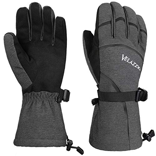 VELAZZIO Eco Gray Ski Gloves - Gray Black, Size M