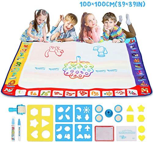 Fansteck Wasser Doodle Matte 100 x 100cm XXL, Aqua Magic Doodle Malmatte mit 3 Magic Stifte & Stempelset, Aqua Drawing Matte für Kinder Baby Mädchen Junge, Painting Geschenk für 1 2 3 4 5 6 7 Jahre