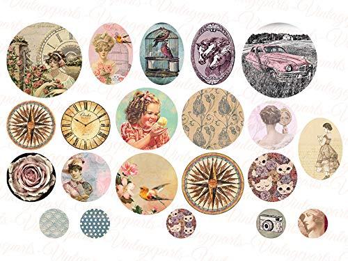 Vintageparts Bastelset Motivbogen für Cabochon Anhänger Sets