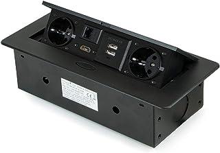 Emuca Meervoudige stekkerdoos, inschuifbaar, voor inbouwdoos, meervoudige stekkerdoos (EU-stekker, type F, USB, RJ45 en HD...