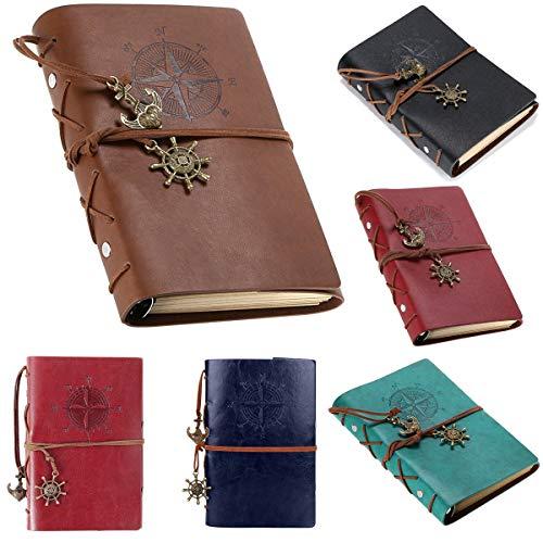 Nachfüllbare Reisende Notebook, Vintage nachfüllbare Notebook Premium PU Leder Classic geprägt Reisejournal Notebook mit Retro-Anhänger (A5, A6) (Brown, A6)
