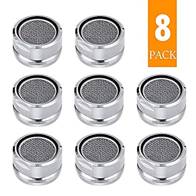 Bathroom Faucet Aerator Replacement Parts 8 PCS with Brass Shell, 2.2 GPM Flow Retrictor Insert Faucet Tap, 15/16-Inch or 24mm Male Threads, Chrome