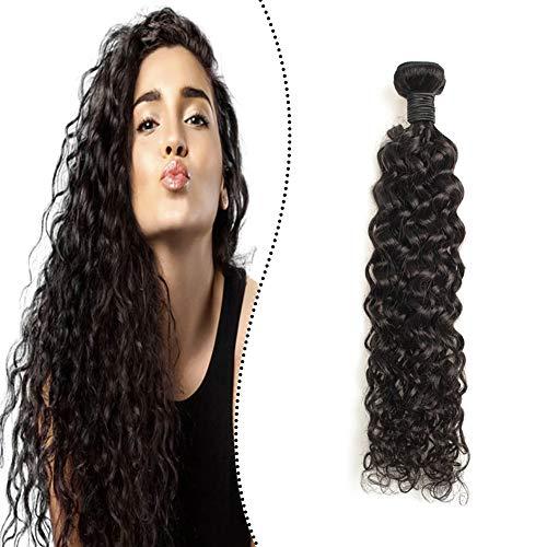 Ugeat Weaving Hair Extensions Echthaar Tressen zum Einnahen Naturliches Schwarz 60 cm Premium Brazilian Human Hair Bundles Natural Wave 100Gramm/Paket