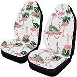 BONRI Juego completo de 2 fundas para asientos delanteros de coche con diseño de flamencos y plantas tropicales exóticas y resistentes a la suciedad