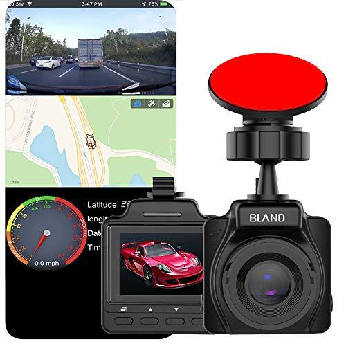 Dual camera dual dash cam con WiFi e GPS, 1080p Full HD 170 (in modalità combinata), HDR con grandangolo, registrazione in loop, visione notturna, monitoraggio del parcheggio