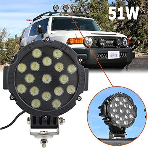 SXMA 7 Zoll 51W Runder LED-Arbeitsscheinwerfer Scheinwerfer Spot Flood Beam wasserdichte LED-Leuchten für 4x4 Offroad Truck Tractor ATV-SUV-Fahrscheinwerfer 1PC (Schwarz)