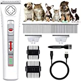 Lavuky Dog Grooming Clippers, Professional Low Noise Cordless Dog Clippers With 2 Blades