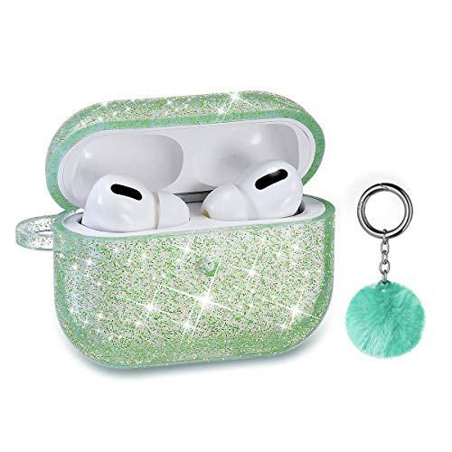 Airpods Pro Case, DMMG Airpods Case Cover Silicone Skin, AirPods Protective Cute Bling Glitter Case with Fluff Ball Keychain, Scratch Proof and Drop Proof for Apple Airpods Pro (Light Green)