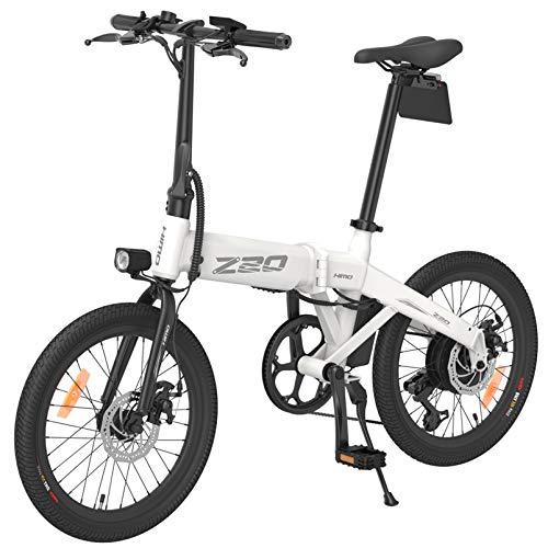 Z20 Bicicleta eléctrica para Adultos, Bicicletas eléctricas Plegables para Mujeres Hombres con batería 10AH 250W Velocidad máxima 25 km/h Portátil para Hombres Mujeres-Blanco
