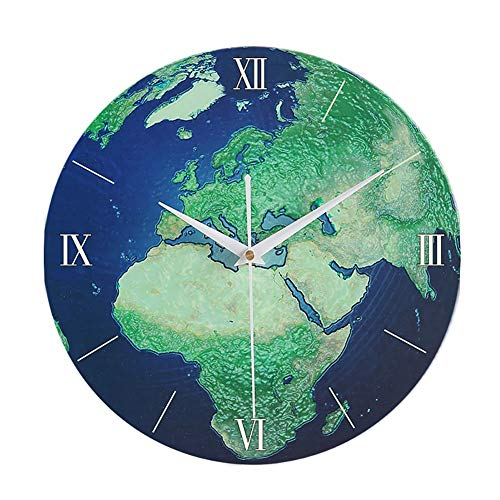 Luminous Wall Clock, 12-inch grote houten Decoratieve Hangen Klok, Indoor Silent Creative Klokken for Slaapkamer Woonkamer Children's Room (Color : A)