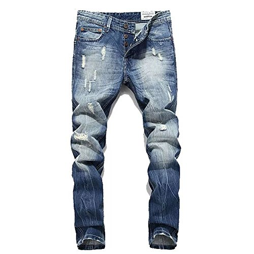 BicRad Herren Jeanshose Destroyed Straight Leg Jeans Used-Look Regular Fit (30 (Taille: 76CM / Länge: 105CM), Hell Denim Blau)
