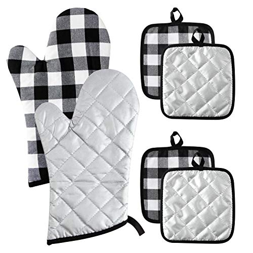 GROBRO7 6Pcs Buffalo Check Plaid Oven Mitts and Pot Holders Set Pure Cotton Heat Resistant...