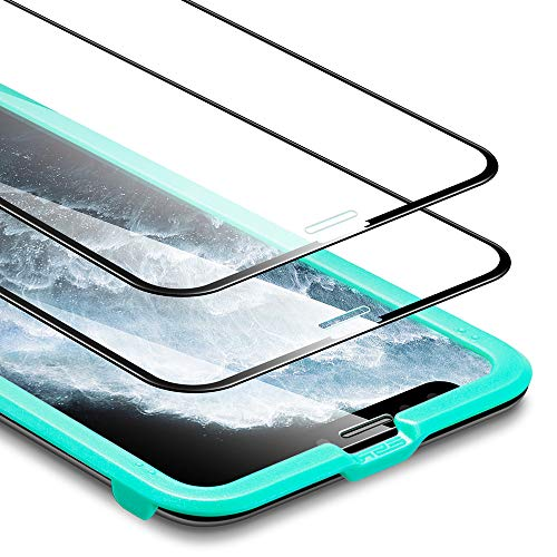 ESR Cristal Templado Cobertura Total para iPhone 11 Pro Protector de Pantalla,Protector de Pantalla iPhone XS.Bordes curvados 3D, Marco de instalación fácil.para iPhone 11 Pro,iPhone XS/X.2 Unidades.