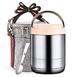 Arderlive Vacuum Insulated Hot Lunch Container,34Oz 18/8 Stainless Steel Thermal Hot Food Lunch Box with Insulated Lunch Bag & Spoon,Soup Thermos Stay Hot for 6 Hrs (light pink,34oz)
