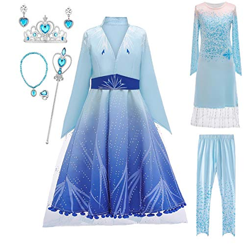 AIYIMEI Nias Vestido de Princesa Elsa 2 Reino del Hielo Disfraz de Carnival Fiesta Manga Larga Cosplay Cumpleao Navidad Halloween Fancy Dress Up Costume 3-12 Aos