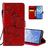 QIVSTAR Schutzhülle für Samsung Galaxy S9, Prägung, Schmetterling, Magnetverschluss, weich, mit Handschlaufe, Rot