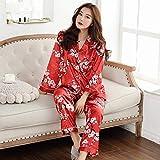 YPDM Pijamas de Mujer de otoño Ropa de Dormir de Seda de imitación Pijamas de satén Conjunto deManga Larga Estampado deFlores2 Piezas Ropa de casa Pijama de Verano Nuevo 2020,4SHH, XXL