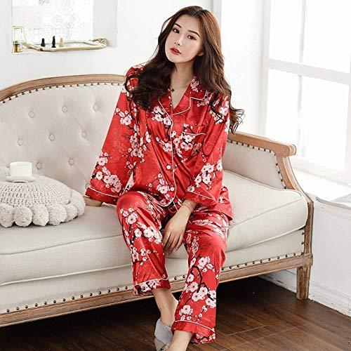 JFCDB Nachthemd Lente Dames Pyjama Faux Zijde Nachtkleding Satijnen Pyjama Set Lange Mouwen Bloemenprint 2-delig Homewear Zomer Pyjama Nieuw 2020,4SHH, XL