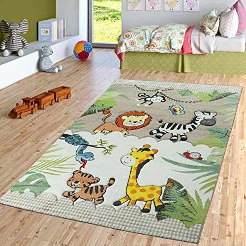 TT Home Kinderzimmer Teppich Dschungel Zoo Tiere Zebra Tiger Löwe AFFE Beige Creme, Größe:140x200 cm