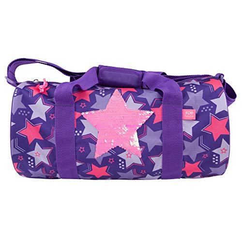 Depesche- Bolsa de Deporte con Estrella de Lentejuelas TopModel, Aprox. 21 x 42 x 21 cm, Color Morado, Länge Breite: 42 cm Höhe: 21 cm (10676)