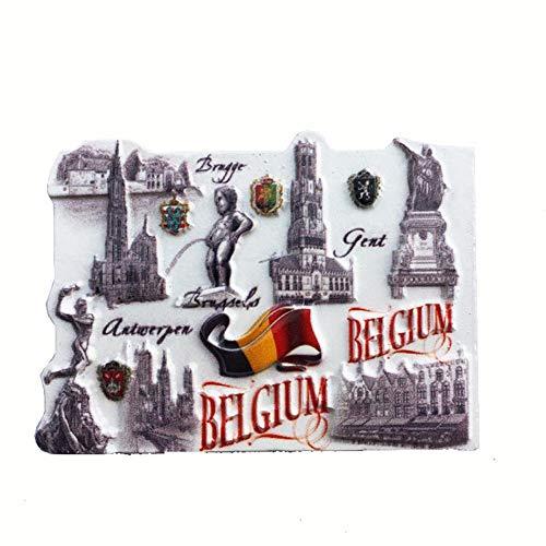 Kühlschrankmagnet Brüssel Brügge Gent Flagge Belgien 3D Harz Handgemachtes Handwerk Touristische Reise Stadt Souvenir Sammlung Brief Kühlschrank Aufkleber