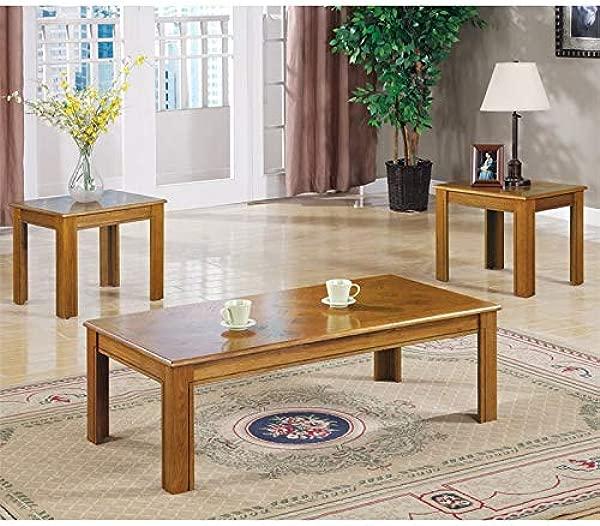 BOWERY HILL 3 Piece Coffee Table Set In Oak