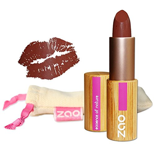 ZAO Matt Lipstick 466 schokolade braun Lippenstift, in nachfüllbarer Bambus-Dose (bio, Ecocert,...